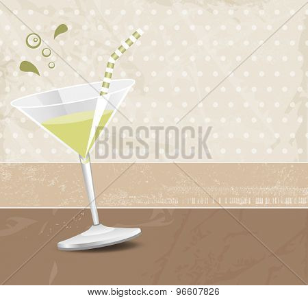 Green cocktail against brown background in retro style