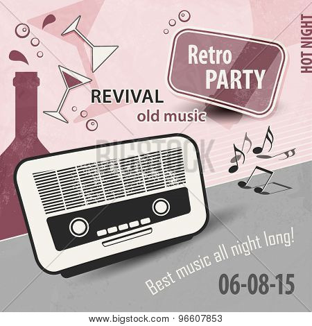 Retro party layout - music poster design with old radio
