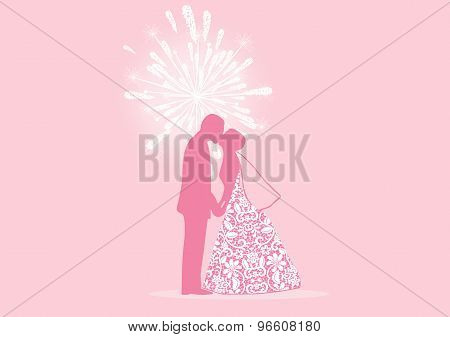 Vector Illustration Of Bride And Kissing With Fireworks In Background