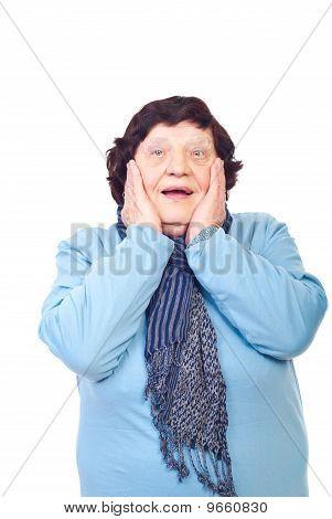 Happy Surprised Elderly Woman