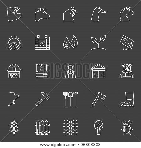 Farm thin line icons