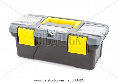 Plastic Box With Tools Isolated On White Background.