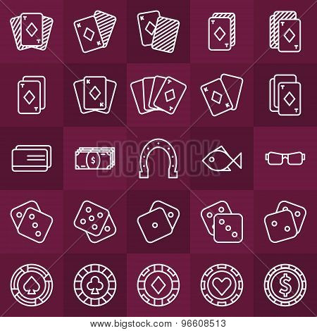 Poker minimal icons set