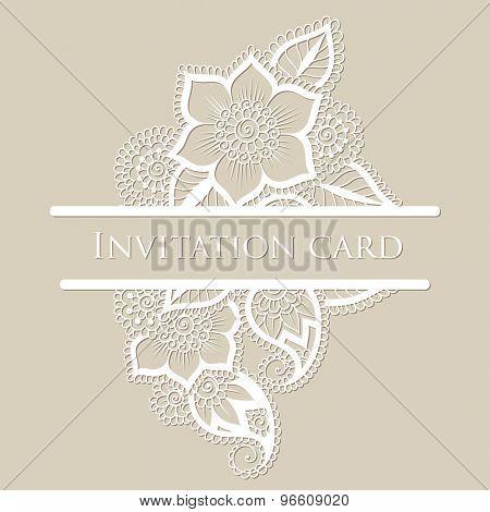 Vintage white flower oriental ornament.