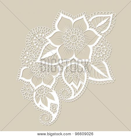 Doodle Vector Illustration Design Element. Flower Ornament.
