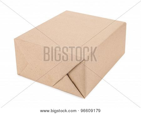 A Box Of Brown Cardboard Isolated On White