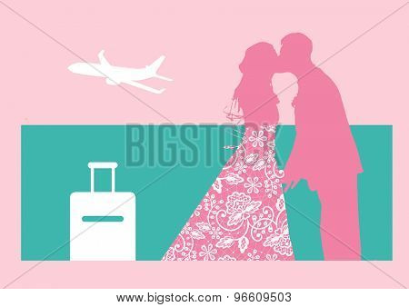 Silhouettes Of Bride And Groom On Romantic Honeymoon