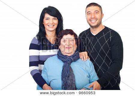Laughing Grandma And Her Grandchildren