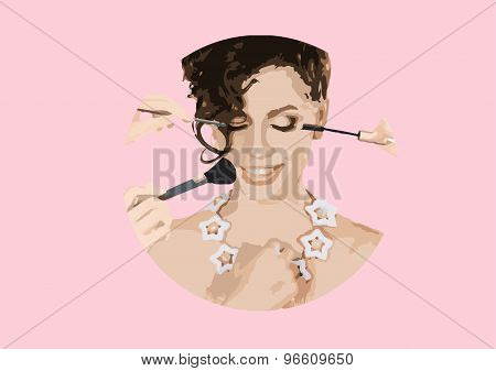 Vector Illustration Of Beautiful Girl Getting Professional Makeup Applied