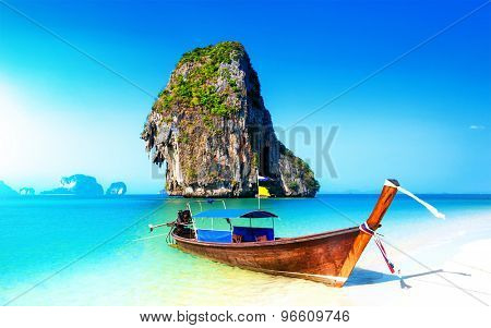 Scenic adventure background of amazing white sand beach on coast of tropical island in Thailand