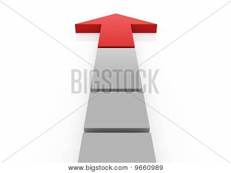 3d red gray arrow high way