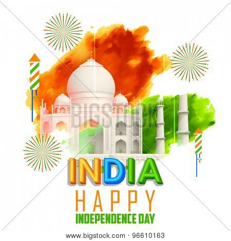 illustration of Taj Mahal with Tricolor India grunge for Independence Day