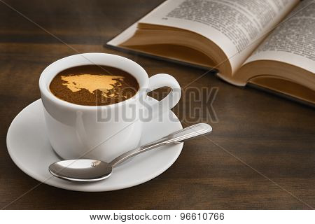 Still Life - Coffee With Map Of Asia Continent