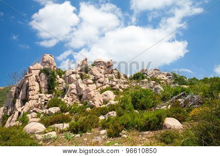 Corsica Island, Rocky Mountains Under Cloudy Sky