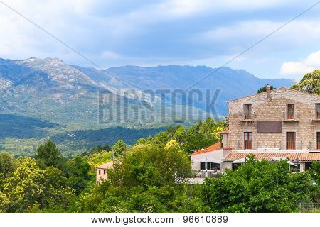 Stone Houses And Mountains. Zonza, Corsica
