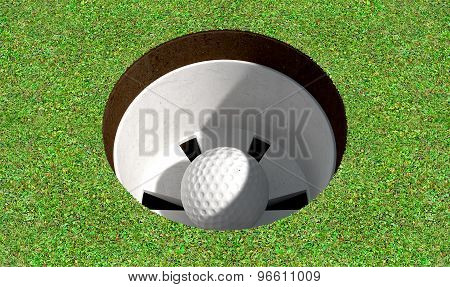 Golf Hole With Ball Inside