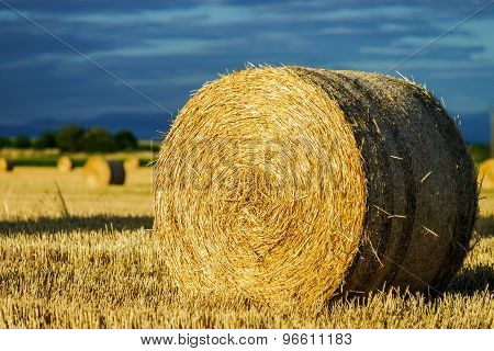 Beautiful Yellow Field With Haystacks At Sunset