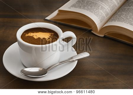 Still Life - Coffee With Map Of Eurasia Continent