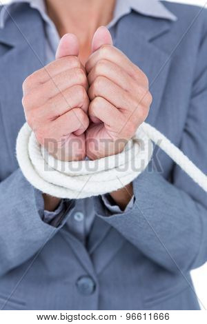 Businesswoman tied up businessman on white background