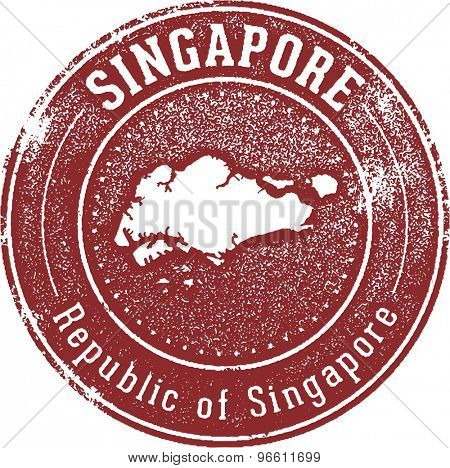 Vintage Style Singapore Country Stamp