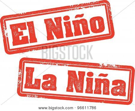 El Nino and La Nina Weather Stamps