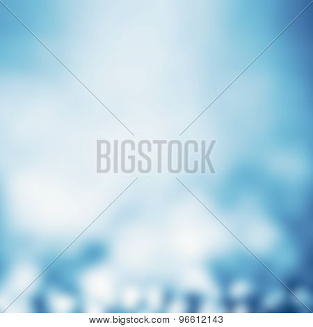 Abstract Defocused Background With Magic Bokeh. Blue Christmas Abstract Backdrop With Blurry Lights.