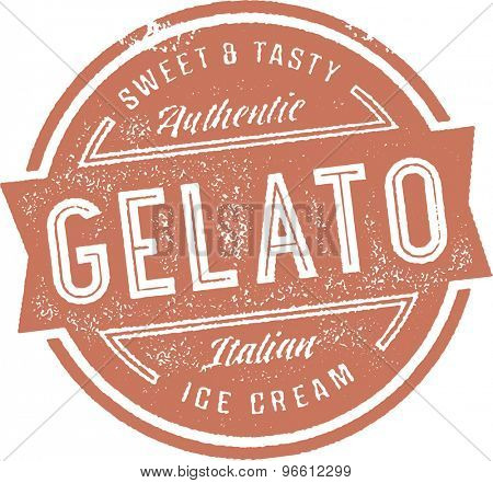 Italian Gelato Ice Cream Stamp Sign