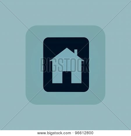Pale blue house sign icon