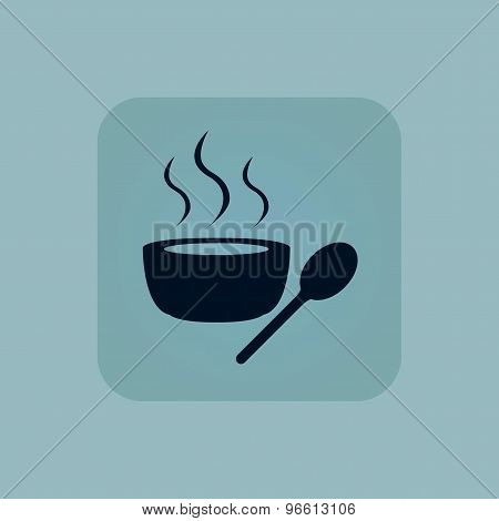 Pale blue hot soup icon