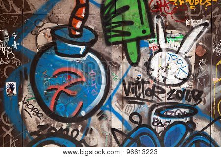 BARCELONA, SPAIN - MAR 17 2015 : Odd symbols appears on a public wall in the city.