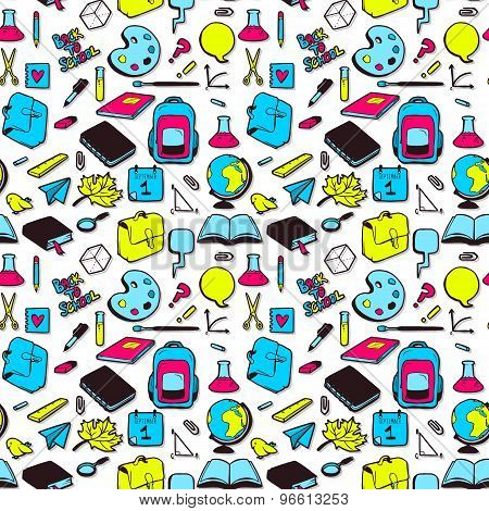 Seamless Pattern With Various Elements For School. Vector Seamless Texture For Wallpapers, Pattern F