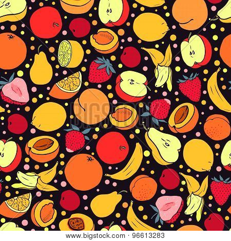 Seamless Pattern With Colorful Fruit. Vector Seamless Texture For Wallpapers, Pattern Fills, Web Pag