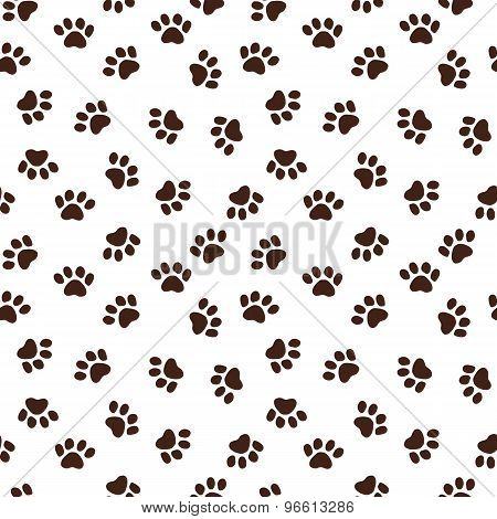Seamless Pattern With Paw Footprints. Vector Seamless Texture For Wallpapers, Pattern Fills, Web Pag
