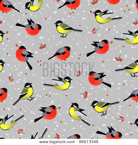 Seamless Pattern With Cute Birds Bullfinches And Tits In Winter. Vector Seamless Texture For Wallpap