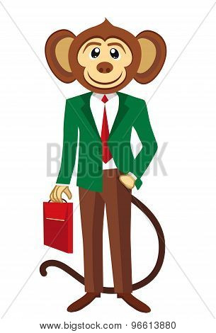 Business monkey in a green blazer. White background
