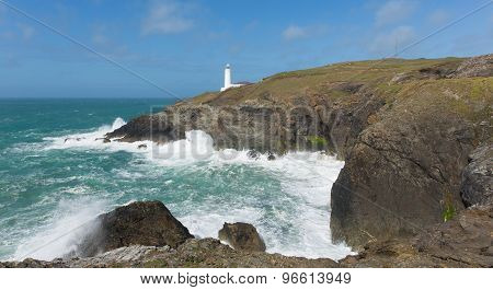 English lighthouse at Trevose Head North Cornwall coastline between Newquay and Padstow uk