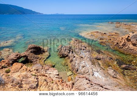 Coastal Landscape With Rocks And Sea, Corsica