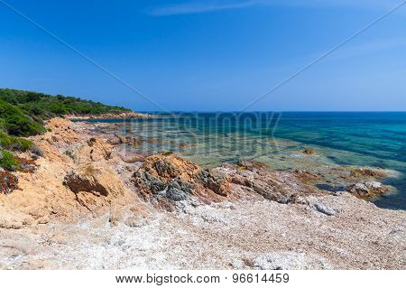 Coastal Landscape With Rocky Wild Beach, Corsica
