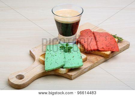 Espresso With Cheese Sandwiches