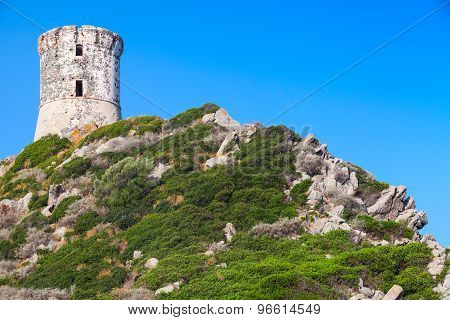 Parata Tower. Ancient Genoese Tower, Corsica