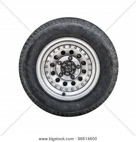 Off-road Car Wheel, Front View Isolated On White