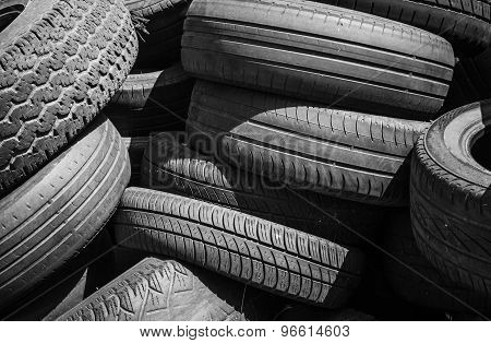 Heap Of Old Used Worn-out Car Tires