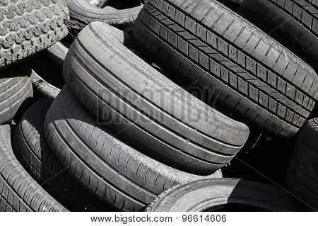 Heap Of Used Worn-out Automotive Tires