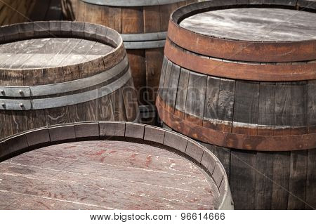 Group Of Old Wooden Barrels, Selective Focus