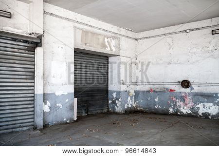 Abstract Empty White Interior Of Old Garage