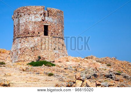 Old Genoese Tower On Capo Rosso Cliff, Corsica