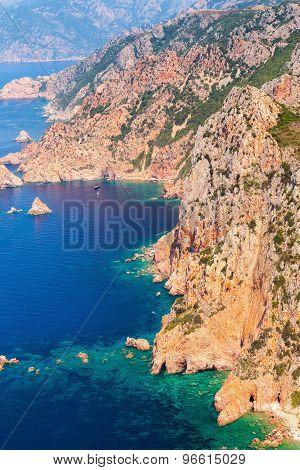 Corsica Island. Coastal Landscape. Gulf Of Porto