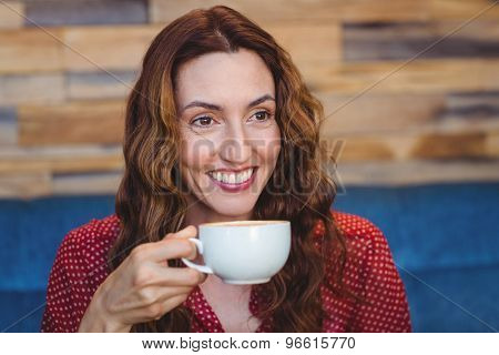 Happy pretty brunette drinking coffee at the coffee shop