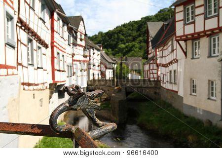 Medieval Village Creek And Dragon Head