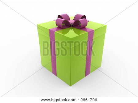 3d green pink gift box